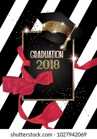 Graduation 2018 banner with hat, scarlet ribbon and striped background. Vector illustration