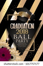 Graduation 2018 party invitation card with hat, golden frame, flowers and striped background. Vector illustration