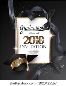 Graduation 2018 party invitation card with hat and long black silk ribbon. Vector illustration