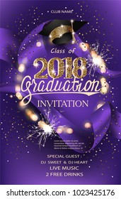 Graduation 2018 party invitation purple card with hat, bokeh frame with sparklers and silk ribbon. Vector illustration