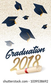 Graduation 2018 poster with hat. Can be used for invitation, banner, greeting card, postcard. Vector graduate template.