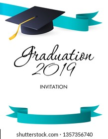 Graduation 2019 invitation design. Blue ribbons, calligraphic text and graduation hat with gold tassel. Illustration can be used for banners, posters, ceremony announcement