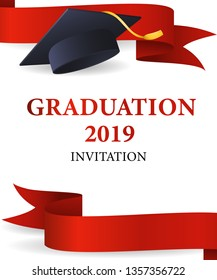 Graduation 2019 invitation design. Graduation cap with gold tassel and red ribbons. Illustration can be used for banners, posters, commencement ceremony