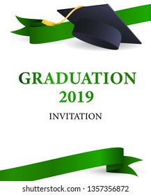 Graduation 2019 invitation design. Green ribbons and graduation hat with gold tassel. Illustration can be used for banners, posters, ceremony announcement