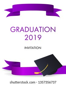 Graduation 2019 invitation design. Graduation hat with gold tassel and violet ribbons. Illustration can be used for banners, posters, ceremony announcement