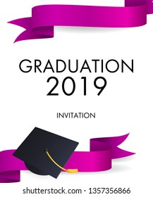 Graduation 2019 invitation design. Purple ribbons and mortarboards with gold tassel. Illustration can be used for banners, posters, ceremony ad