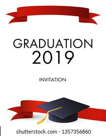 Graduation 2019 invitation design. Red ribbons and graduation cap with gold tassel. Illustration can be used for banners, posters, commencement ceremony