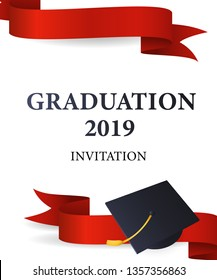 Graduation 2019 invitation design. Red ribbons and mortarboards with gold tassel. Illustration can be used for banners, posters, ceremony ad