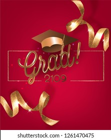 Graduation 2019 invitation red card with beautiful golden levitating ribbons and graduation caps. Vector illustration