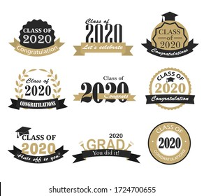 Graduation 2020  badges, signs and symbols with graduation hat and text in retro style, vector illustration. Congratulation to graduates of 2020 year.