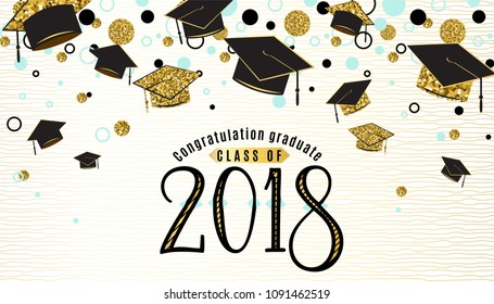 Graduation background class of 2018 with graduate cap, black and gold color, glitter dots on a white golden line striped backdrop. Hat thrown up. Vector illustration