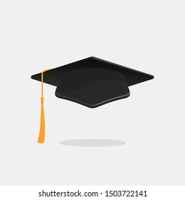Graduation cap. Academic hat with tassel. Illustration in flat style. Vector isolated on white background.