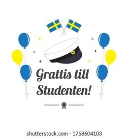 "Graduation cap with balloon and flag of Sweden, Greeting Card vector illustration. Swedish Translation: "" Congratulations on graduation! """
