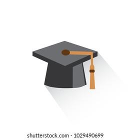 Graduation Cap Biretta Emoji Icon Object Symbol Vector Art Design Cartoon Isolated Background