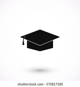 Graduation cap bleck icon, flat design best vector icon