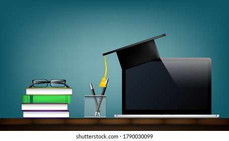 Graduation cap and books on wooden table. Education and school concept. Vector illustration design.