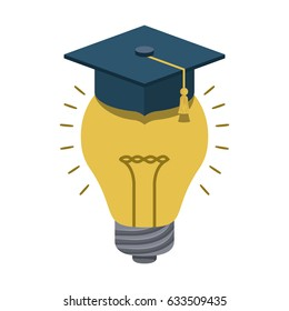 Graduation cap and bulb icon. School supply object and education theme. Isolated design. Vector illustration
