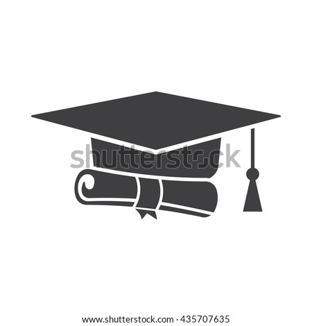 8fcab387c20 Graduation cap and diploma black web icon on the white background - Vector
