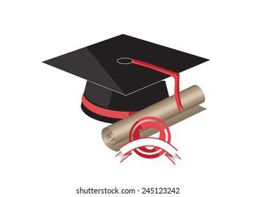 Graduation cap and diploma. close up