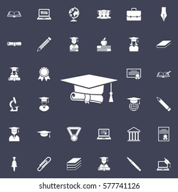 graduation cap and diploma icon. Education set of icons