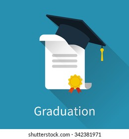 Graduation cap and diploma. Icon in a flat design with long shadow. Vector illustration