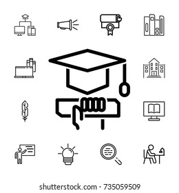 graduation cap and diploma icon on the white background. set of education icons
