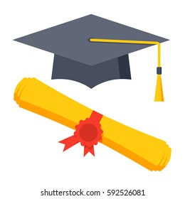 Graduation Cap And Diploma Icon Vector Illustration In Flat Style