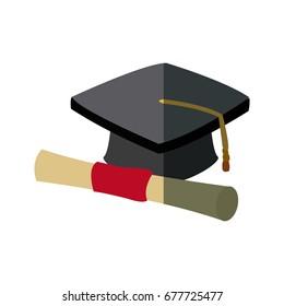 graduation cap and diploma rolled finish education symbol