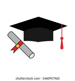Graduation cap and diploma rolled scroll flat design icon. Finish education symbol. Graduational day celebration element.