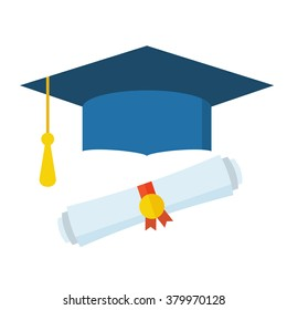 Graduation cap and diploma rolled scroll flat design icon. Finish education symbol. Graduational day celebration element. Graduate hat and scroll vector illustration isolated on white background.
