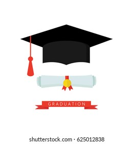 Graduation cap and diploma rolled scroll flat design icon. Finish education symbol.  Graduate hat and scroll vector illustration isolated on white. Graduation icon