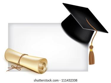 Graduation cap and diploma. Vector