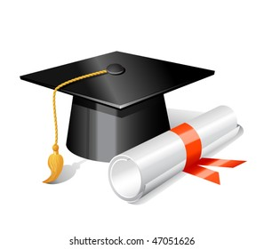 Graduation cap and diploma. Vector illustration