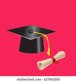 graduation cap and diploma vector on red background