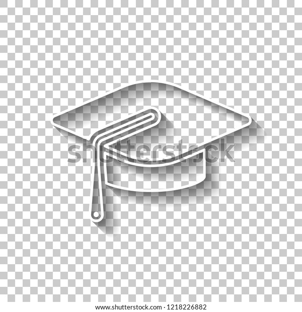 87c42a003 Graduation Cap Education Icon White Outline Stock Vector (Royalty ...