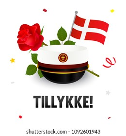 """Graduation cap with flag and red rose, Greeting Card vector illustration. Danish Translation: """" Congratulations! """""""