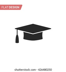 Graduation cap flat web icon. Silhouette graduation cap. Graduation cap isolated on background