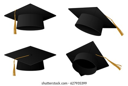 Graduation cap or hat vector illustration in the flat style. Academic caps  set. Graduation c07d7bfe9e7