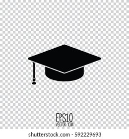 Graduation cap icon. Flat style for graphic and web design, Modern simple vector sign. Internet concept. Trendy symbol for website design web button, mobile app.