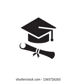 Graduation cap icon flat trendy