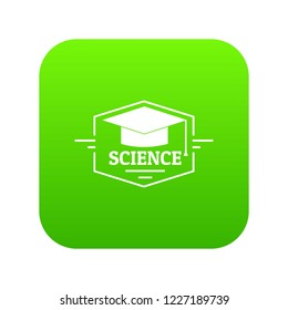 Graduation cap icon green vector isolated on white background