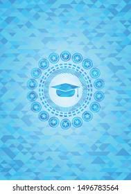 graduation cap icon inside light blue emblem with mosaic background