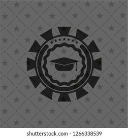 graduation cap icon inside retro style black emblem