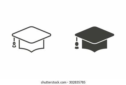 Graduation cap icon on white background. Vector illustration.