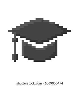 Graduation Cap Icon, Pixel 8 bit style