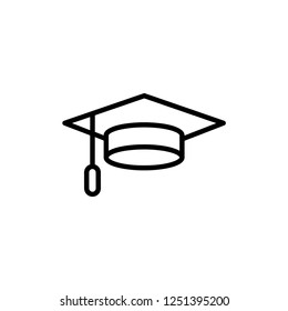 Graduation Cap Icon Vector in Line Art Style. EPS 10.