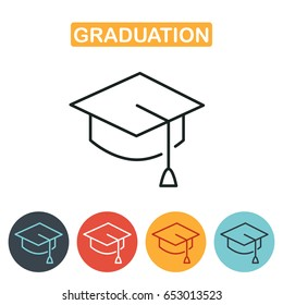 Graduation cap line icon. Education icon for web and graphic design. Line style logo. Vector illustration.