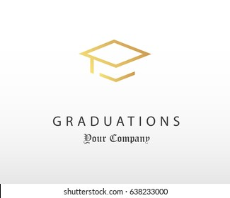 Graduation cap logo design design template gold