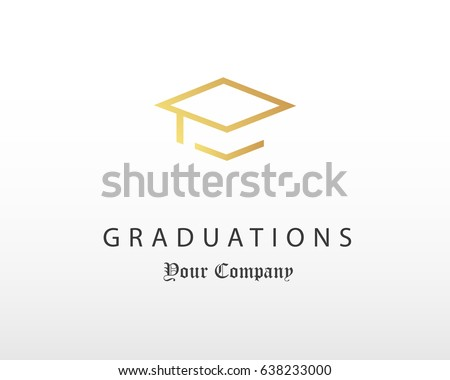 graduation cap logo design design template のベクター画像素材