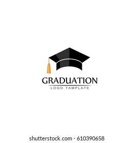 Graduation cap logo or icon. Vector isolated illustration on white background